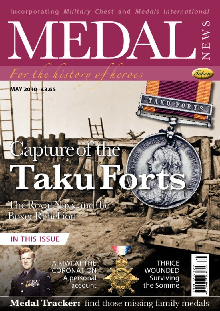 Front cover of 'Capture of Taku Forts', Medal News May 2010, Volume 48, Number 5 by Token Publishing