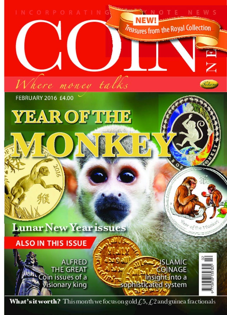 Front cover of 'Year of the Monkey', Coin News February 2016, Volume 53, Number 2 by Token Publishing