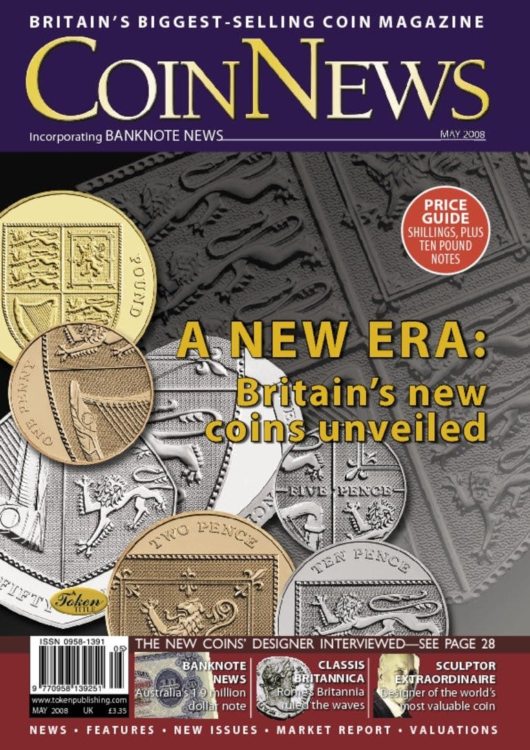 Front cover of 'A new era: Britain's new coins unveiled', Coin News May 2008, Volume 45, Number 5 by Token Publishing