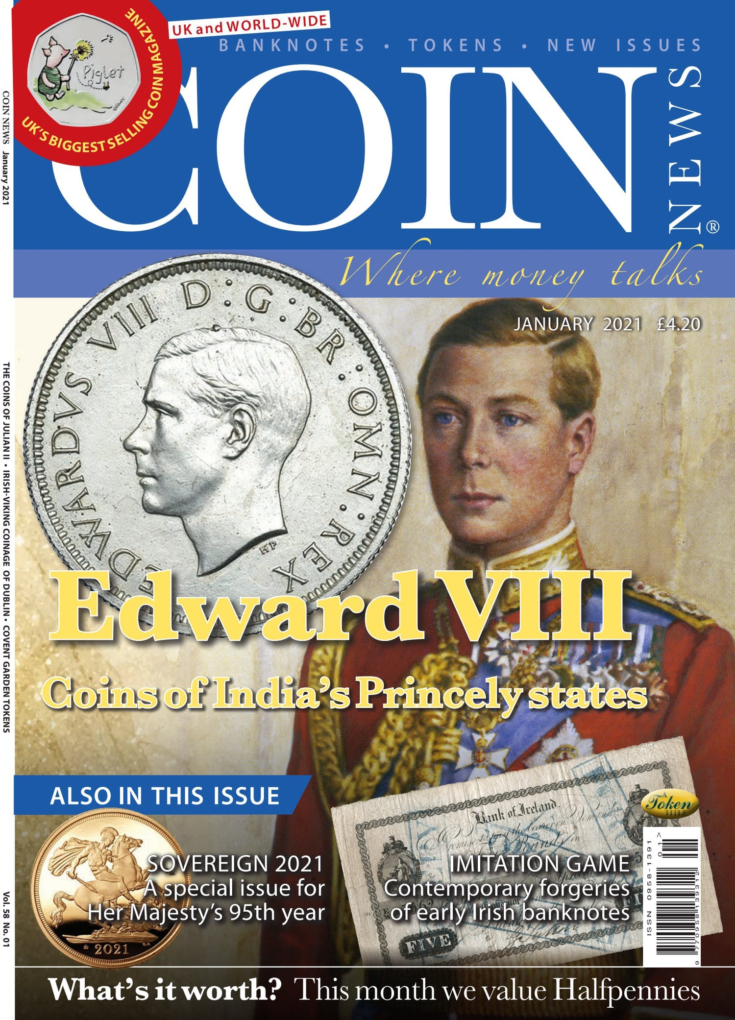 Front cover of 'Edward VIII', Coin News January 2021, Volume 58, Number 1 by Token Publishing