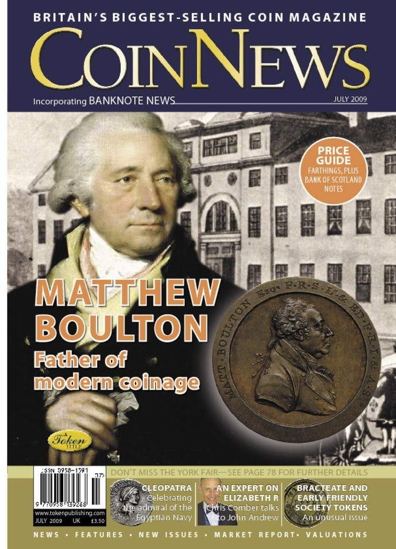 Front cover of 'Father of modern coinage', Coin News July 2009, Volume 46, Number 7 by Token Publishing