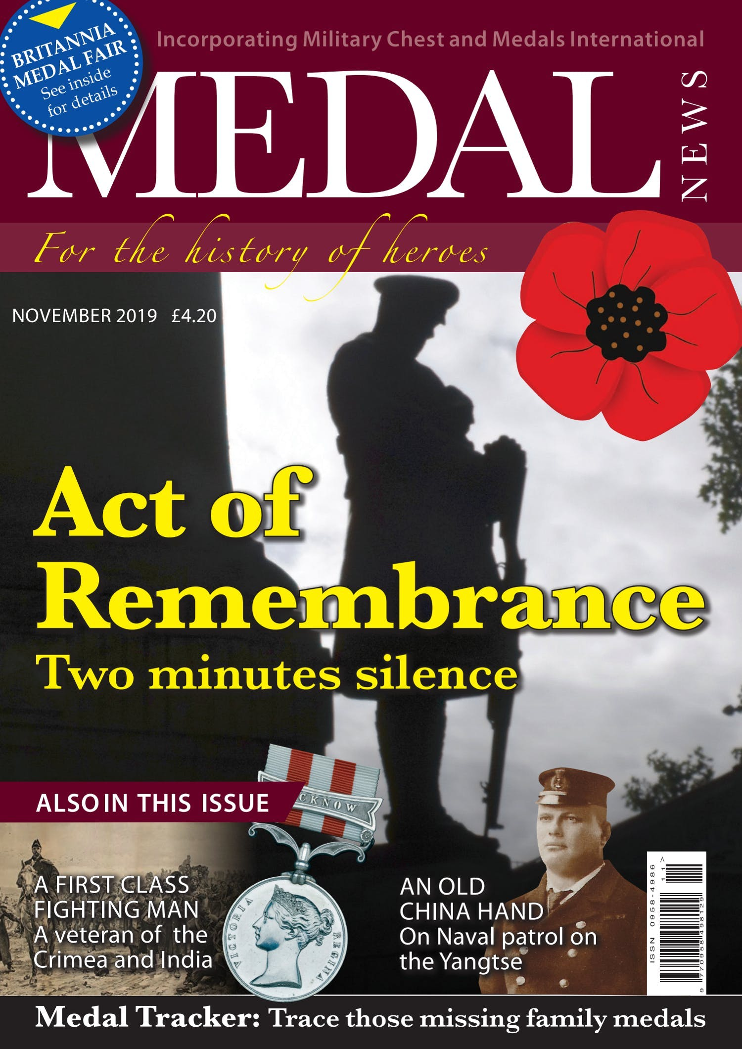 Front cover of 'Act of Remembrance', Medal News November 2019, Volume 57, Number 10 by Token Publishing