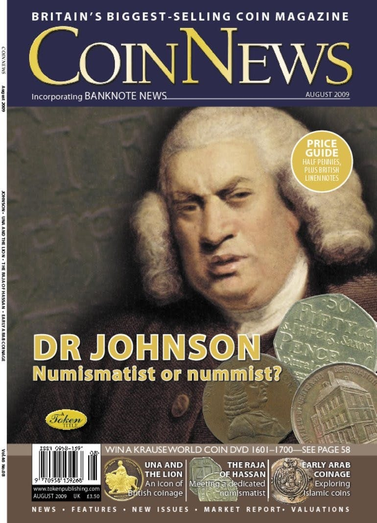 Front cover of 'Dr Johnson', Coin News August 2009, Volume 46, Number 8 by Token Publishing