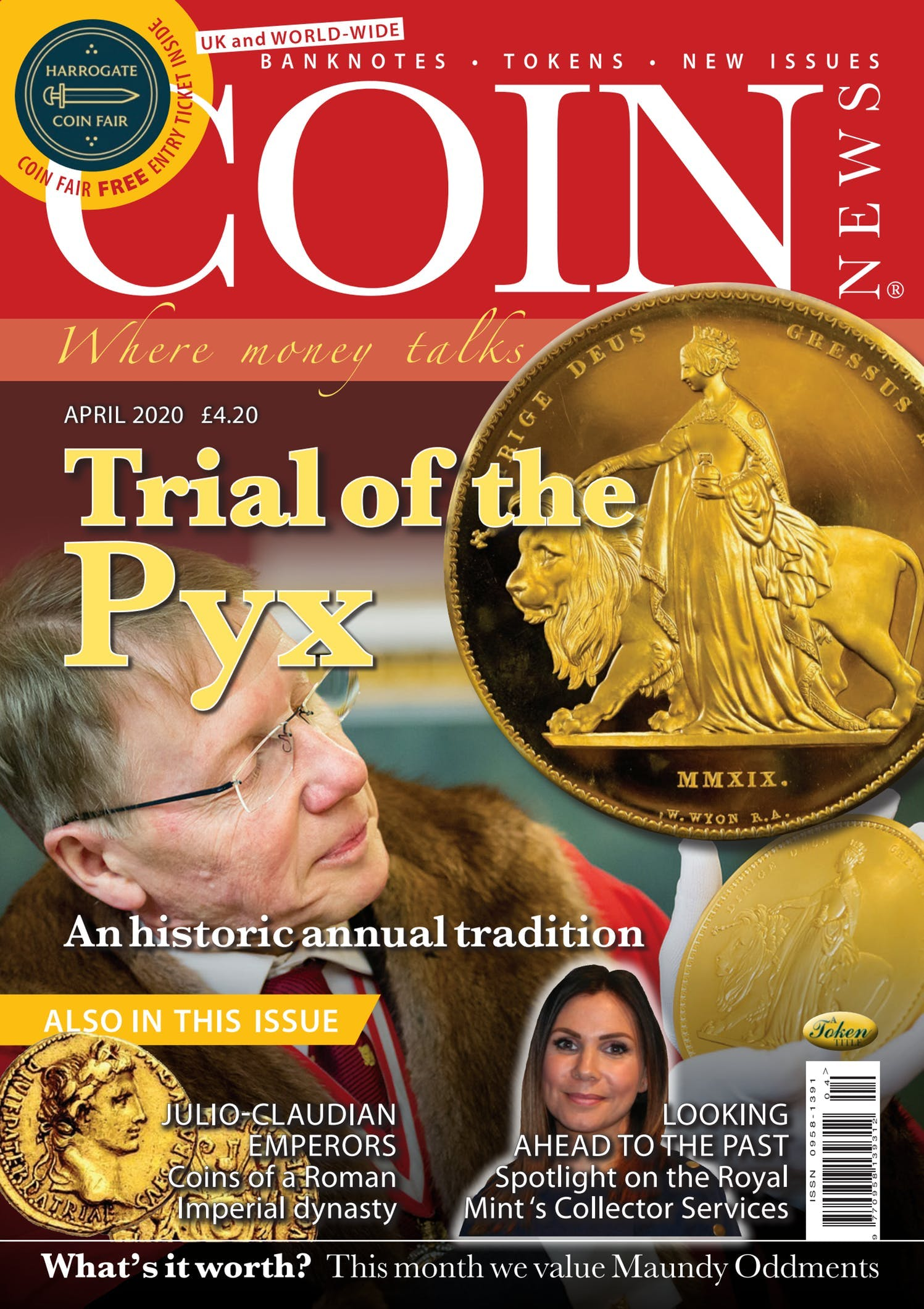 Front cover of 'Trial of the Pyx', Coin News April 2020, Volume 57, Number 4 by Token Publishing
