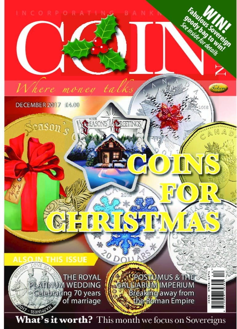 Front cover of 'Coins for Christmas', Coin News December 2017, Volume 54, Number 12 by Token Publishing