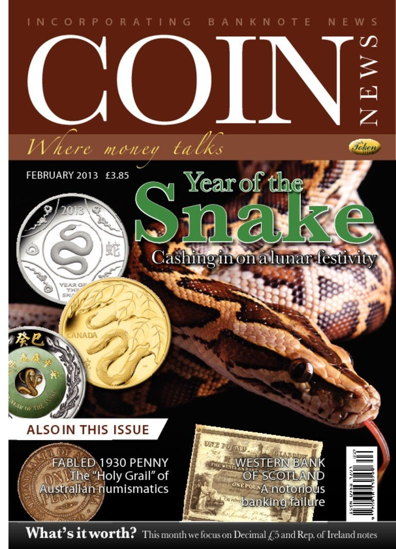 Front cover of 'Year of the Snake', Coin News February 2013, Volume 50, Number 2 by Token Publishing