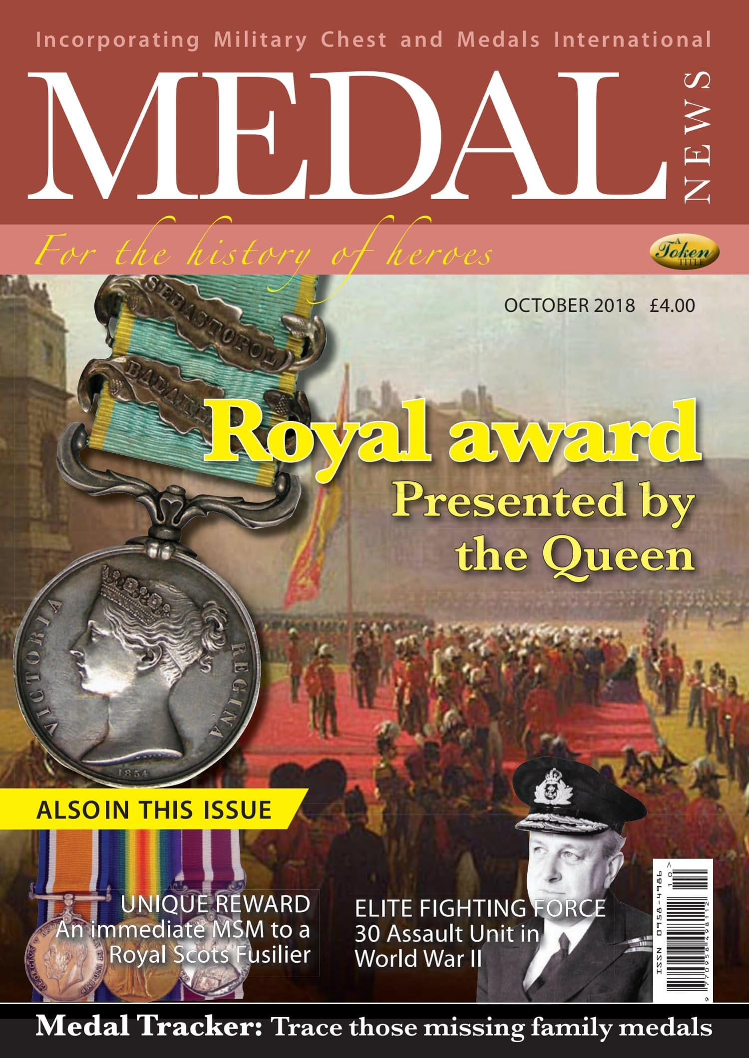 The front cover of Medal News, October 2018 - Volume 56, Number 9
