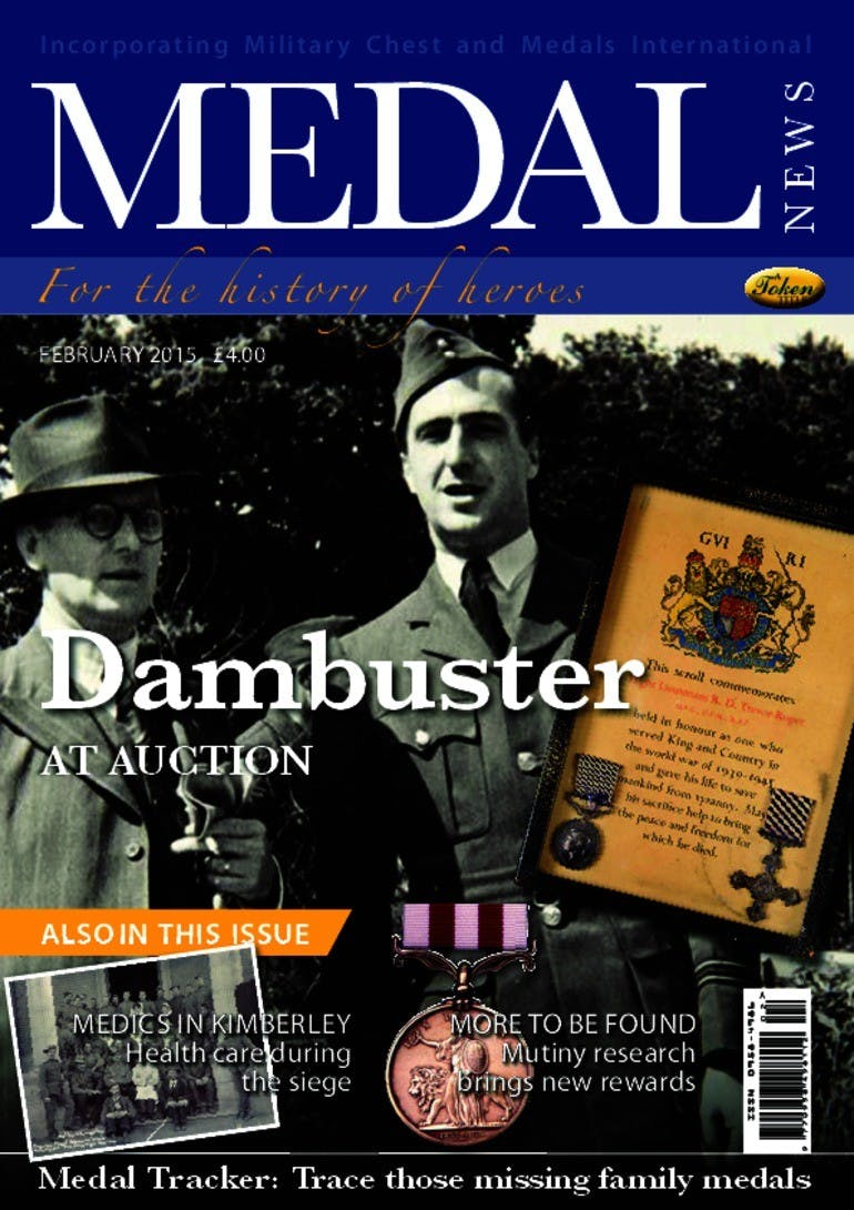 Front cover of 'Dambuster at auction', Medal News February 2015, Volume 53, Number 2 by Token Publishing