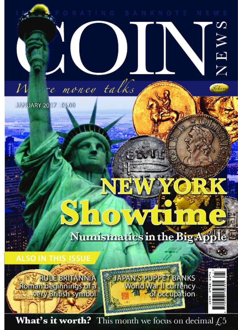 Front cover of 'New York showdown', Coin News January 2017, Volume 54, Number 1 by Token Publishing