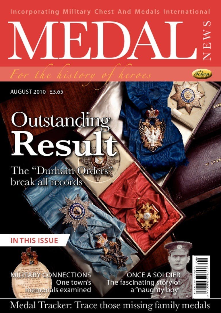 Front cover of 'Outstanding result', Medal News August 2010, Volume 48, Number 7 by Token Publishing