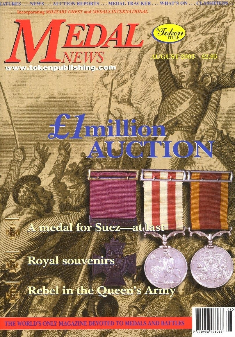 Front cover of 'At Last a fitting reward', Medal News August 2003, Volume 41, Number 8 by Token Publishing