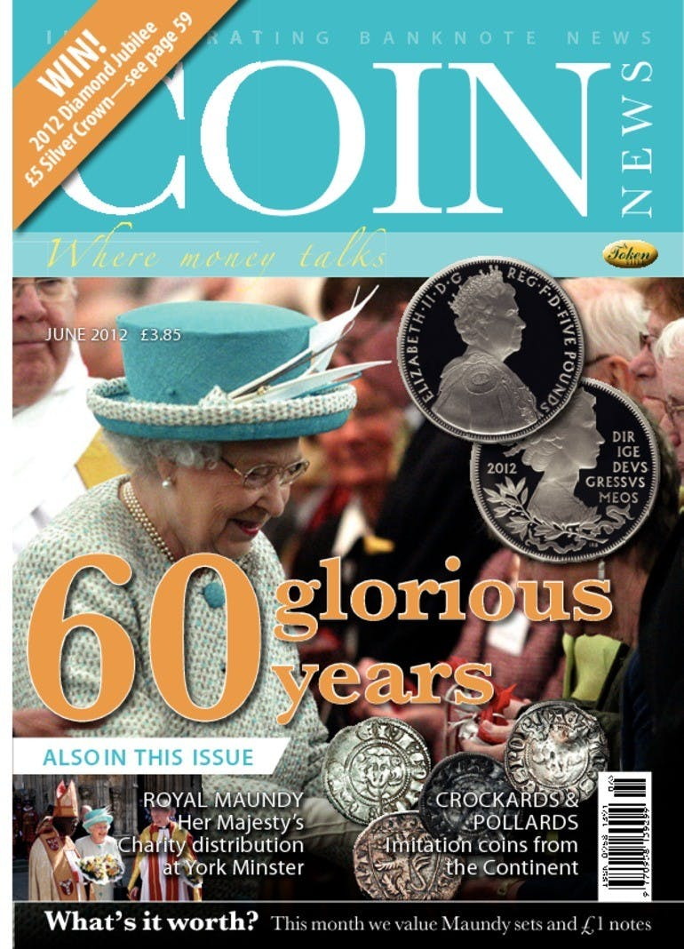 Front cover of '60 Glorious Years', Coin News June 2012, Volume 49, Number 6 by Token Publishing
