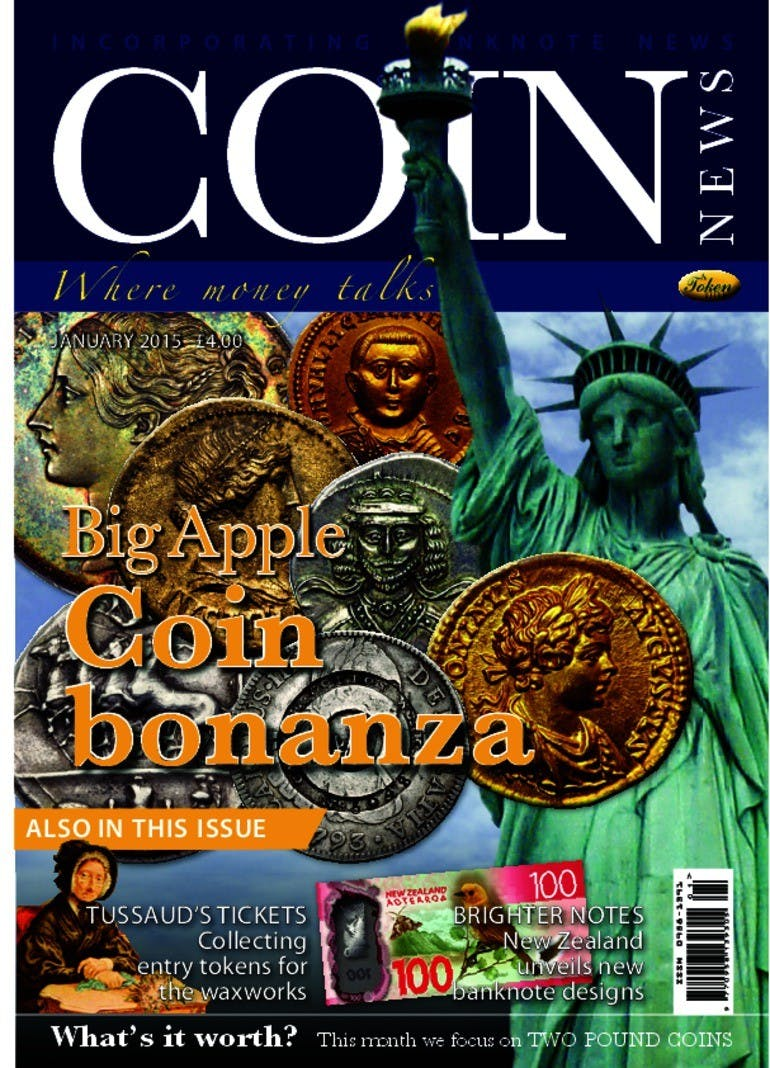 Front cover of 'Special by design', Coin News January 2015, Volume 52, Number 1 by Token Publishing