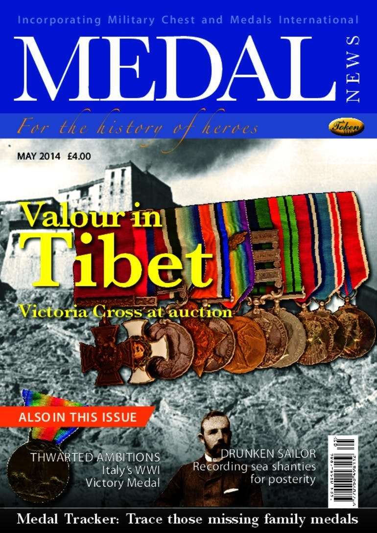 Front cover of 'Valour in Tibet', Medal News May 2014, Volume 52, Number 5 by Token Publishing