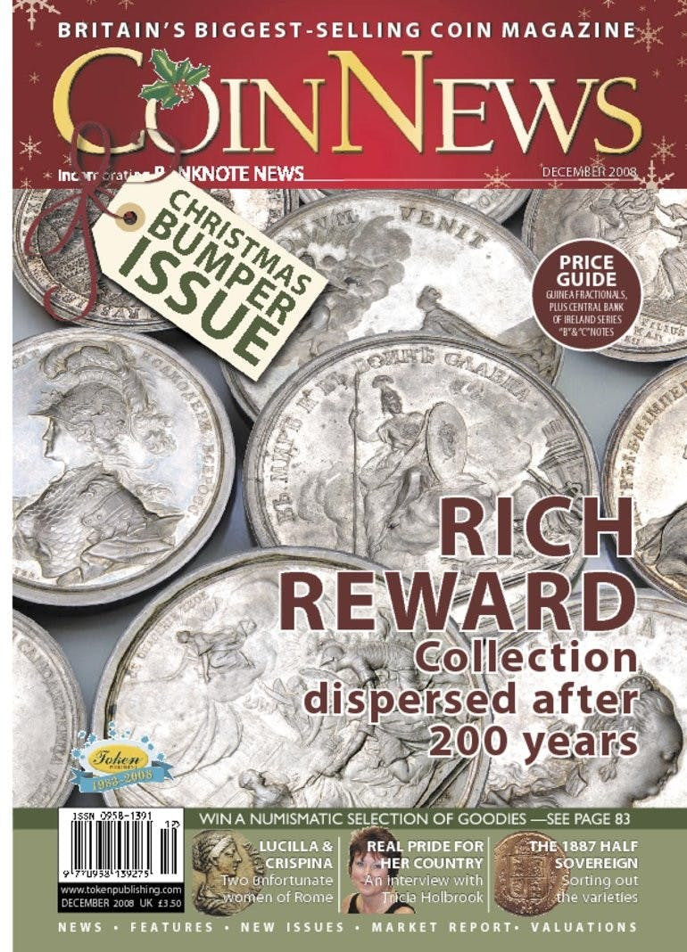Front cover of 'Rich Reward: Collection dispersed after 200 years', Coin News December 2008, Volume 45, Number 12 by Token Publishing