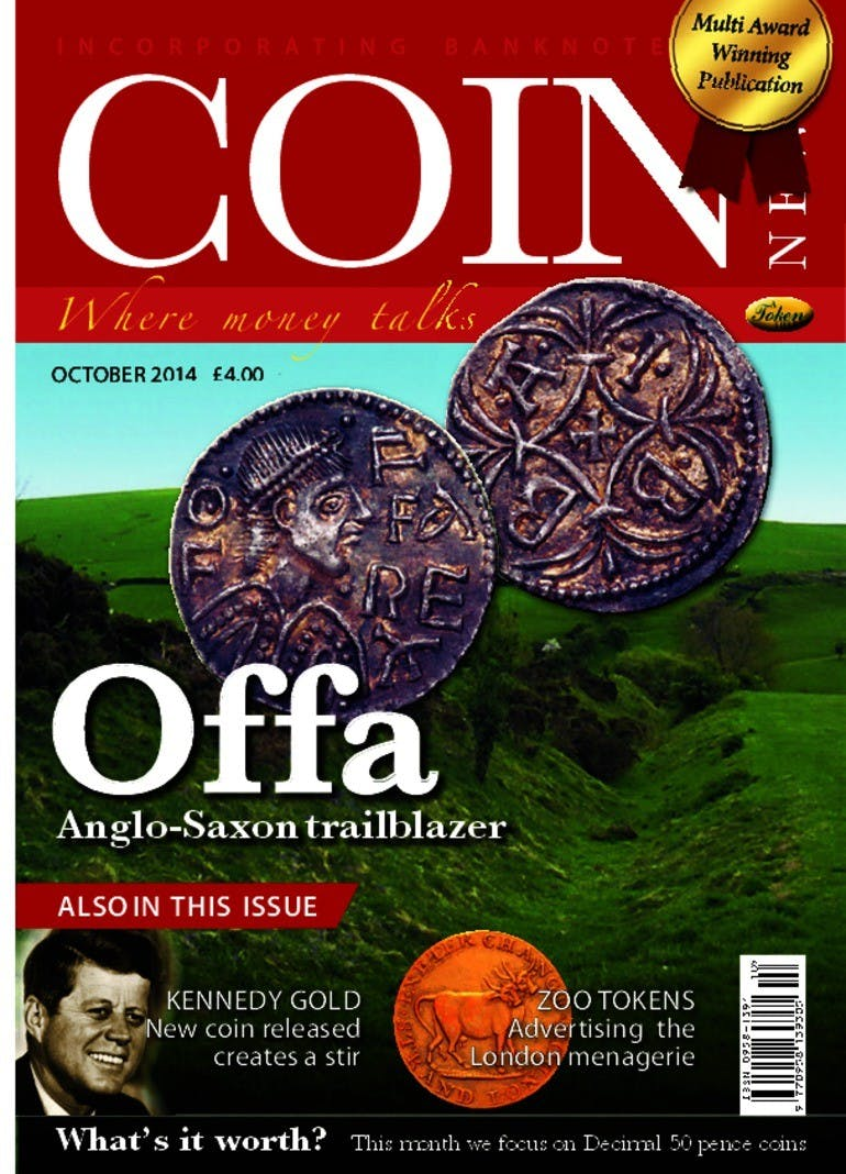 Front cover of 'Offa', Coin News October 2014, Volume 51, Number 10 by Token Publishing