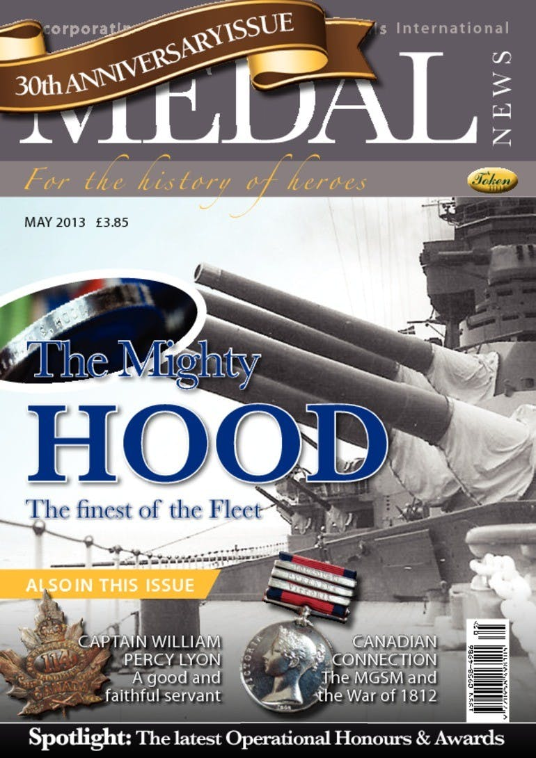 Front cover of 'The Mighty Hood', Medal News May 2013, Volume 51, Number 5 by Token Publishing