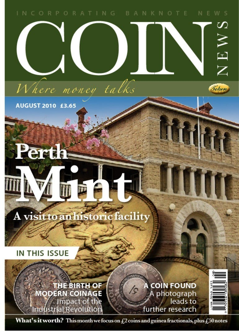 Front cover of 'Perth Mint', Coin News August 2010, Volume 47, Number 8 by Token Publishing