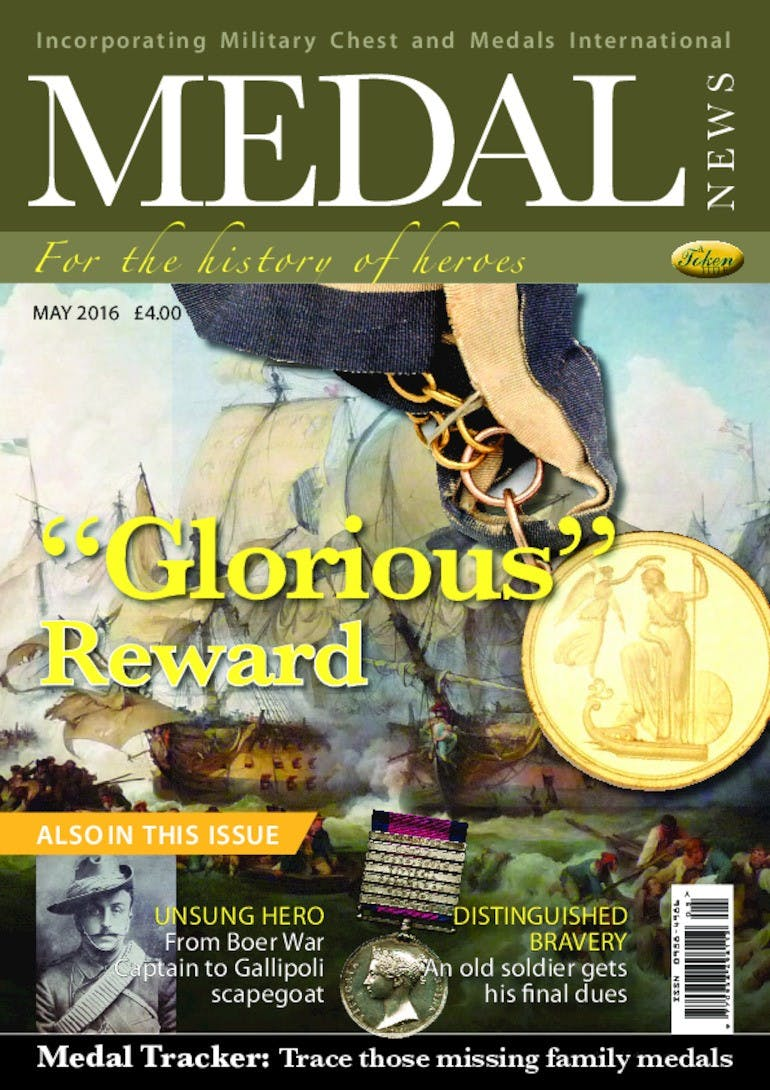Front cover of 'Glorious Reward', Medal News May 2016, Volume 54, Number 5 by Token Publishing