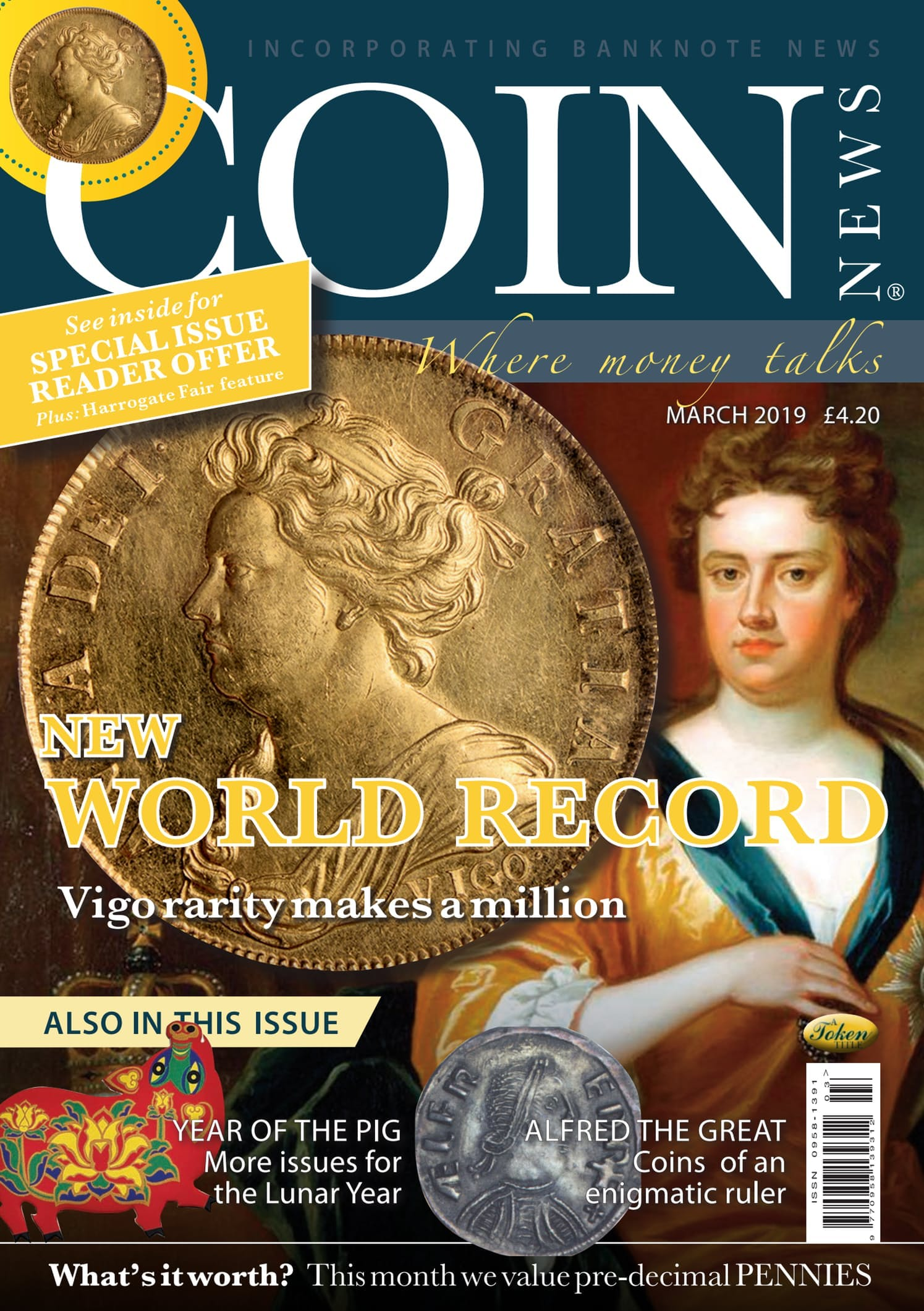Front cover of 'A new World record', Coin News March 2019, Volume 56, Number 3 by Token Publishing