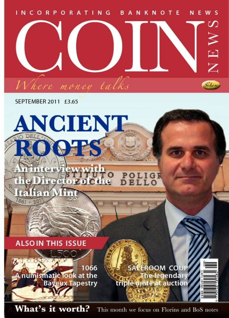 Front cover of 'Ancient Roots', Coin News September 2011, Volume 48, Number 9 by Token Publishing