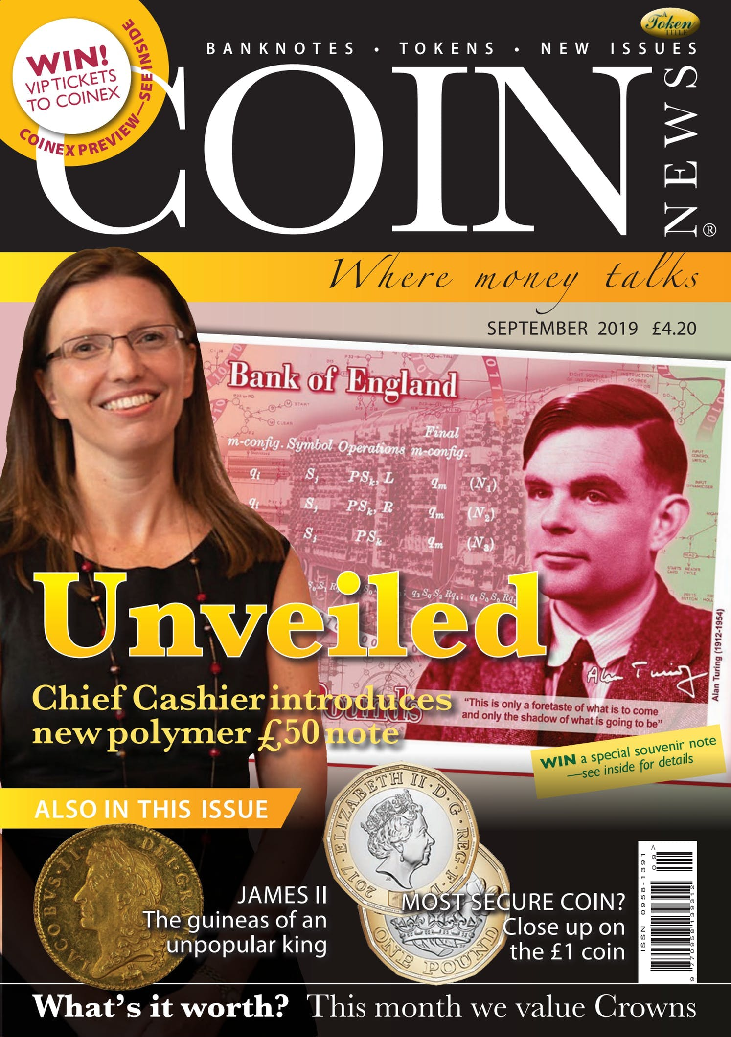 Front cover of 'Unveiled', Coin News September 2019, Volume 56, Number 9 by Token Publishing