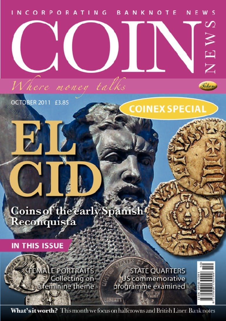 Front cover of 'El Cid', Coin News October 2011, Volume 48, Number 10 by Token Publishing