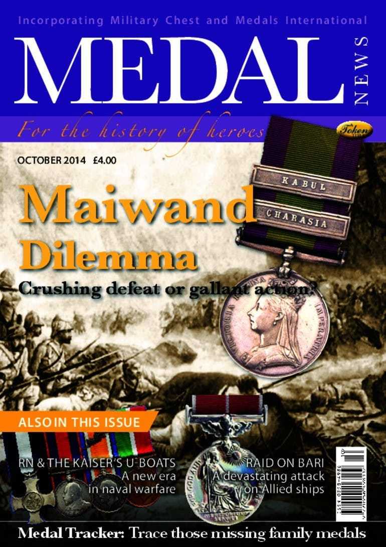 Front cover of 'Maiwand dilemma', Medal News October 2014, Volume 52, Number 9 by Token Publishing