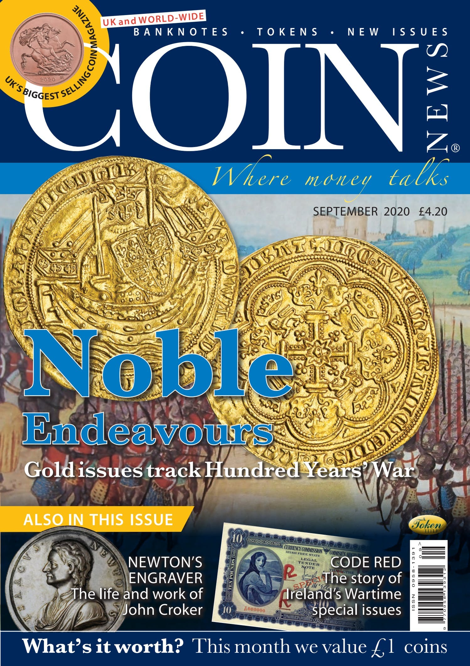 Front cover of 'Noble Endeavours', Coin News September 2020, Volume 57, Number 9 by Token Publishing
