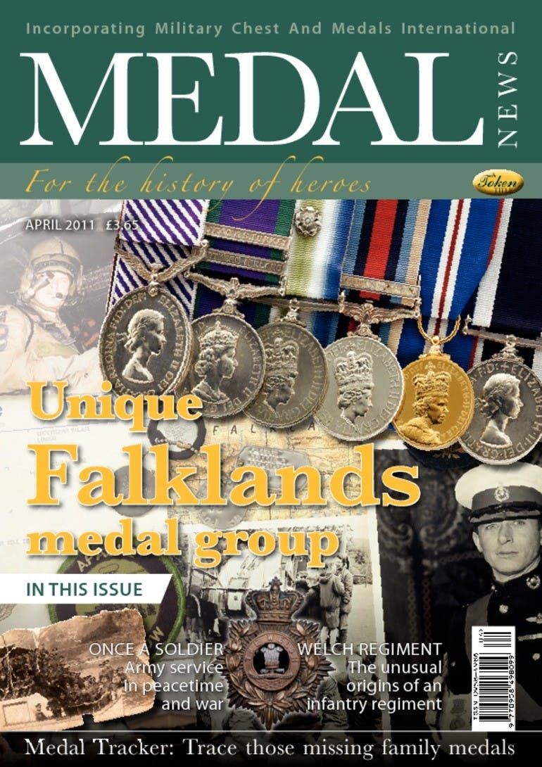 Front cover of 'Unique Falklands medal group', Medal News April 2011, Volume 49, Number 4 by Token Publishing