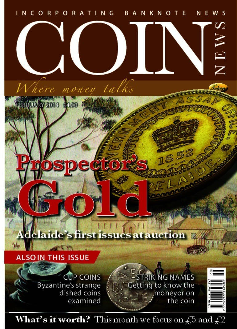 Front cover of 'Prospector's gold', Coin News February 2014, Volume 51, Number 2 by Token Publishing