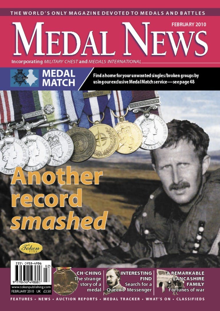 Front cover of 'Another record smashed', Medal News February 2010, Volume 48, Number 2 by Token Publishing