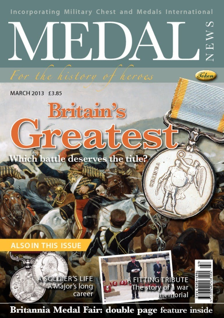 Front cover of 'Britain's Greatest', Medal News March 2013, Volume 51, Number 3 by Token Publishing