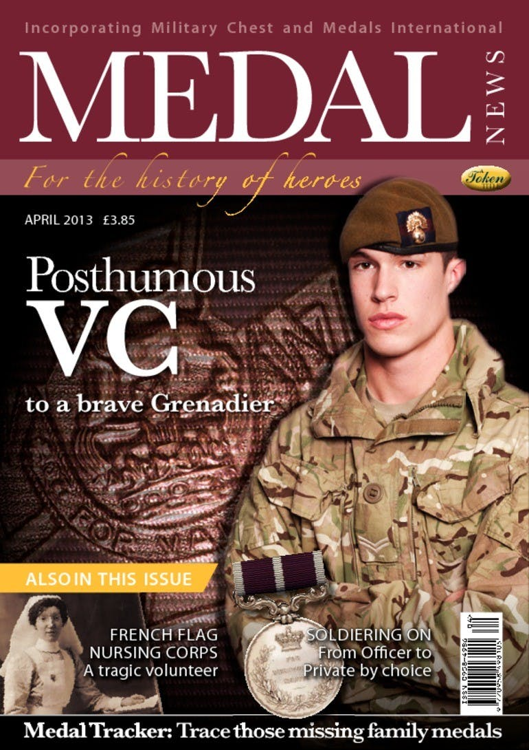 Front cover of 'Posthumous VC', Medal News April 2013, Volume 51, Number 4 by Token Publishing