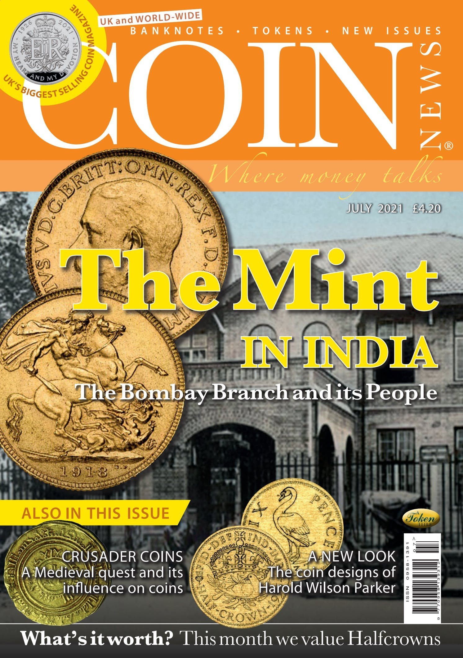 Front cover of 'The Mint in India', Coin News July 2021, Volume 58, Number 7 by Token Publishing