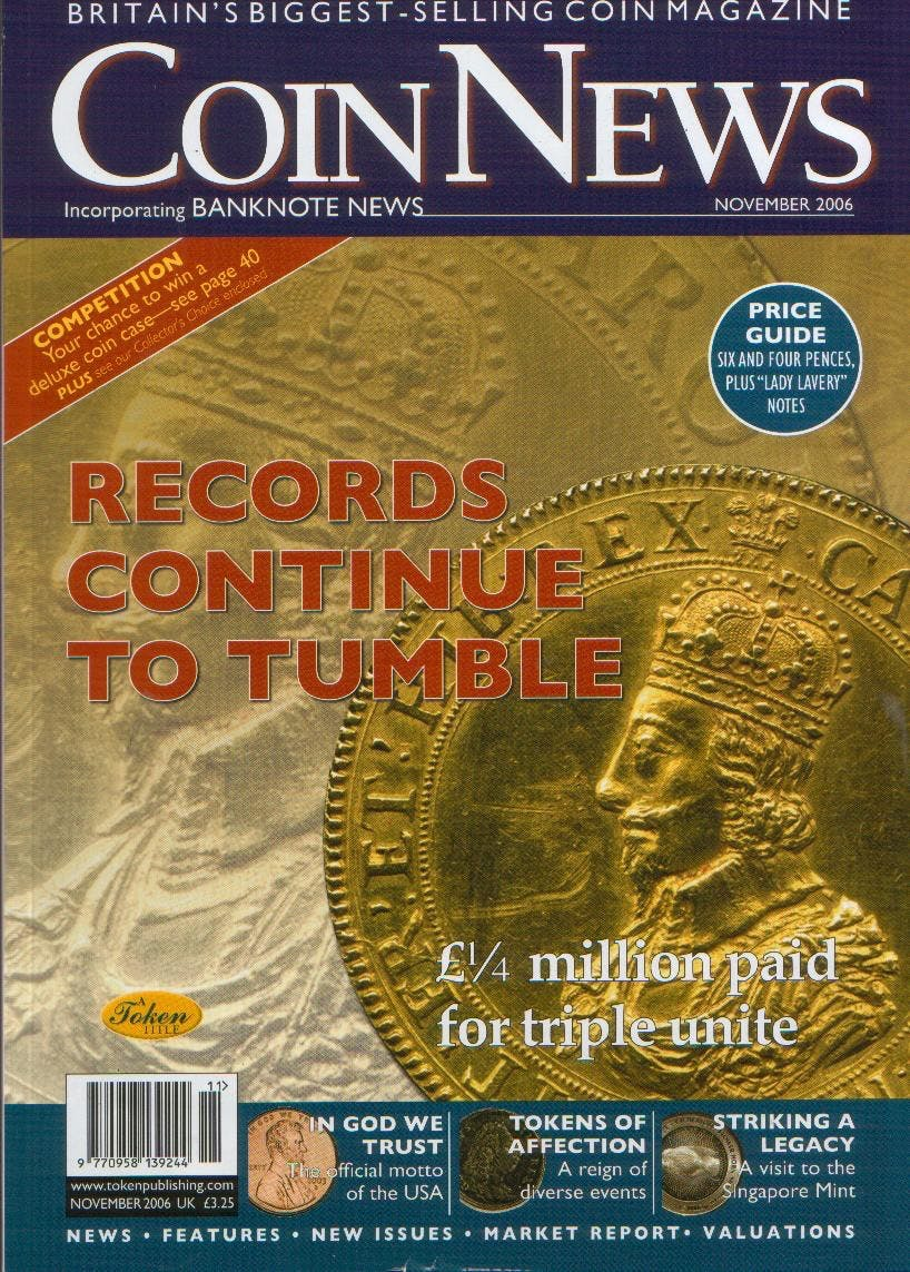 Front cover of 'Coinex leads the way...', Coin News November 2006, Volume 43, Number 11 by Token Publishing