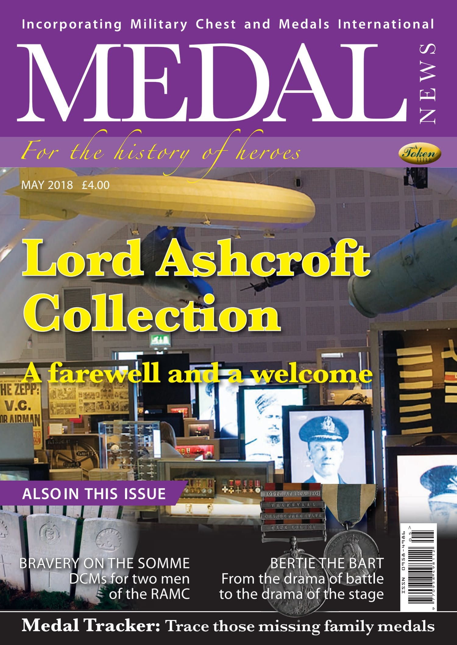Front cover of 'Lord Ashcroft Collection', Medal News May 2018, Volume 56, Number 5 by Token Publishing