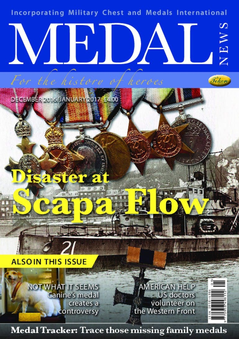 Front cover of 'Disaster at Scapa Flow', Medal News December 2016, Volume 55, Number 1 by Token Publishing