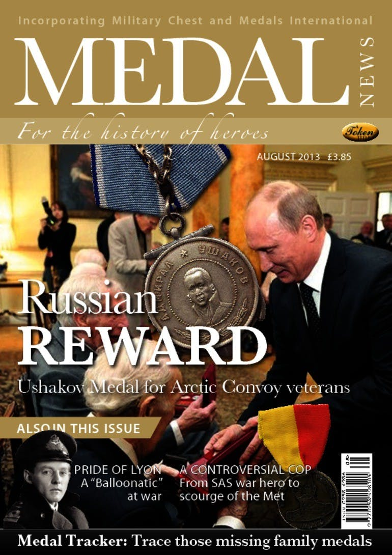 Front cover of 'Russian reward', Medal News August 2013, Volume 51, Number 7 by Token Publishing