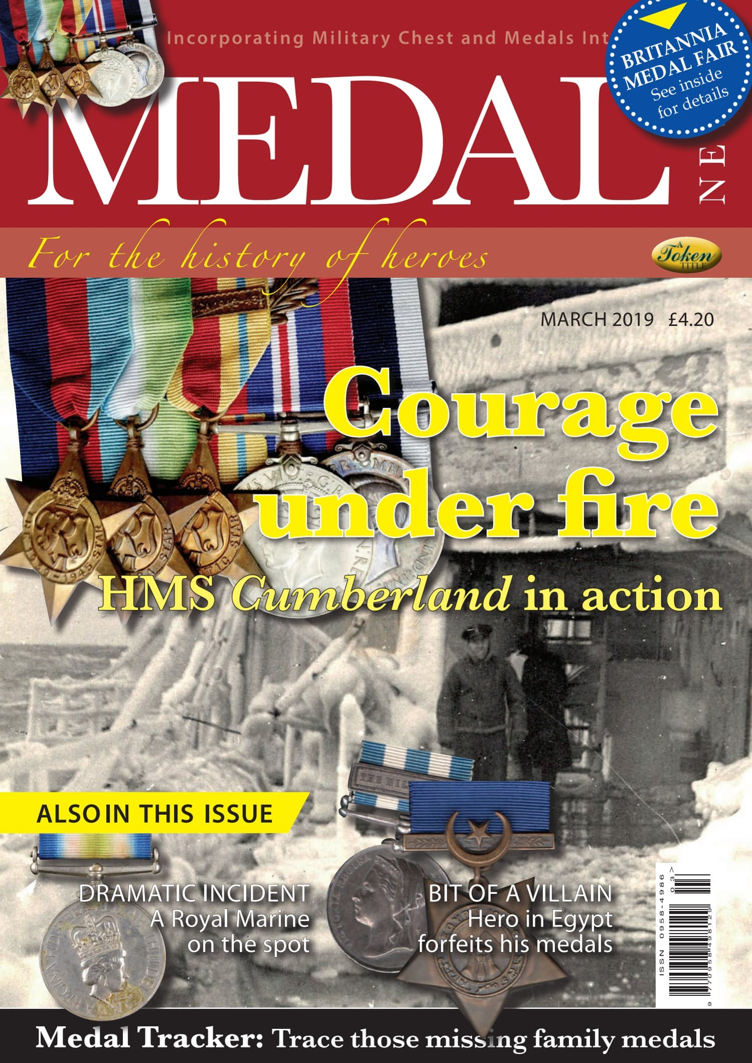 Front cover of 'Courage under fire', Medal News March 2019, Volume 57, Number 3 by Token Publishing