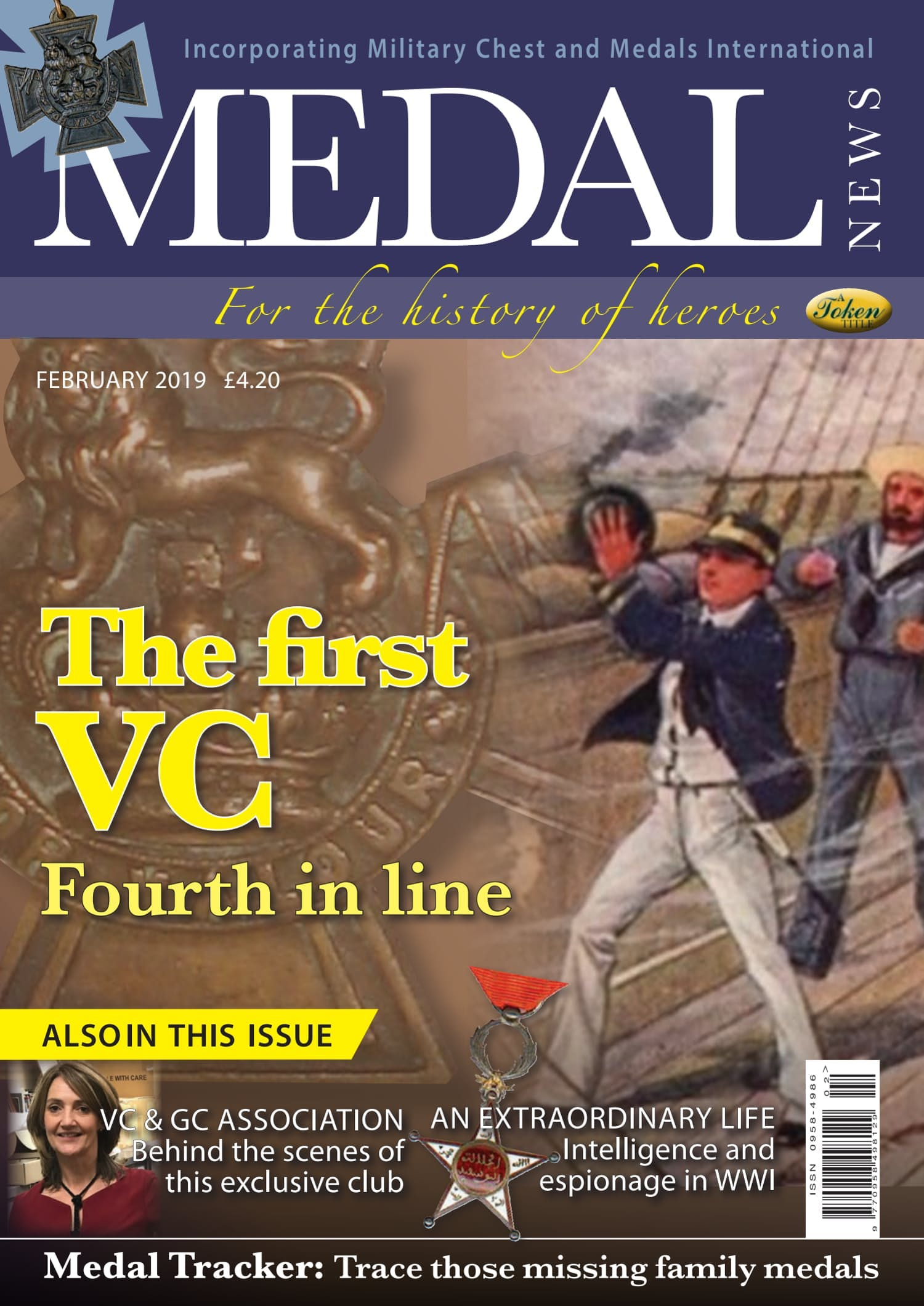 Front cover of 'The First VC', Medal News February 2019, Volume 57, Number 2 by Token Publishing