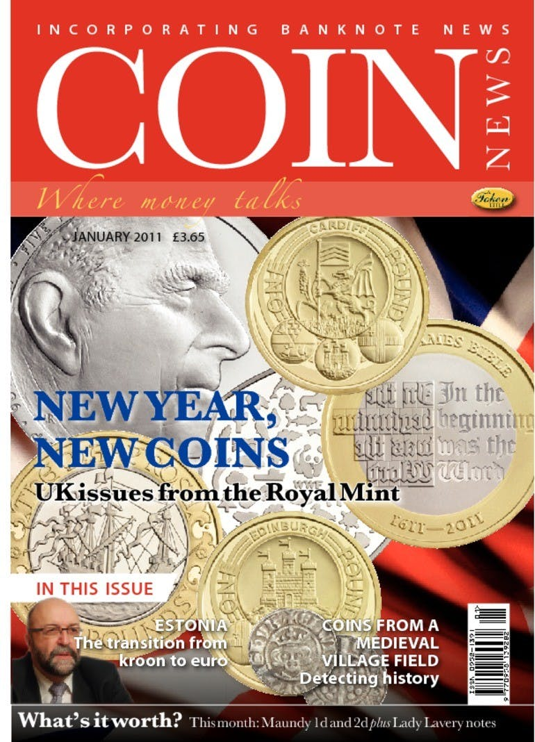 Front cover of 'New Year, new coins', Coin News January 2011, Volume 48, Number 1 by Token Publishing