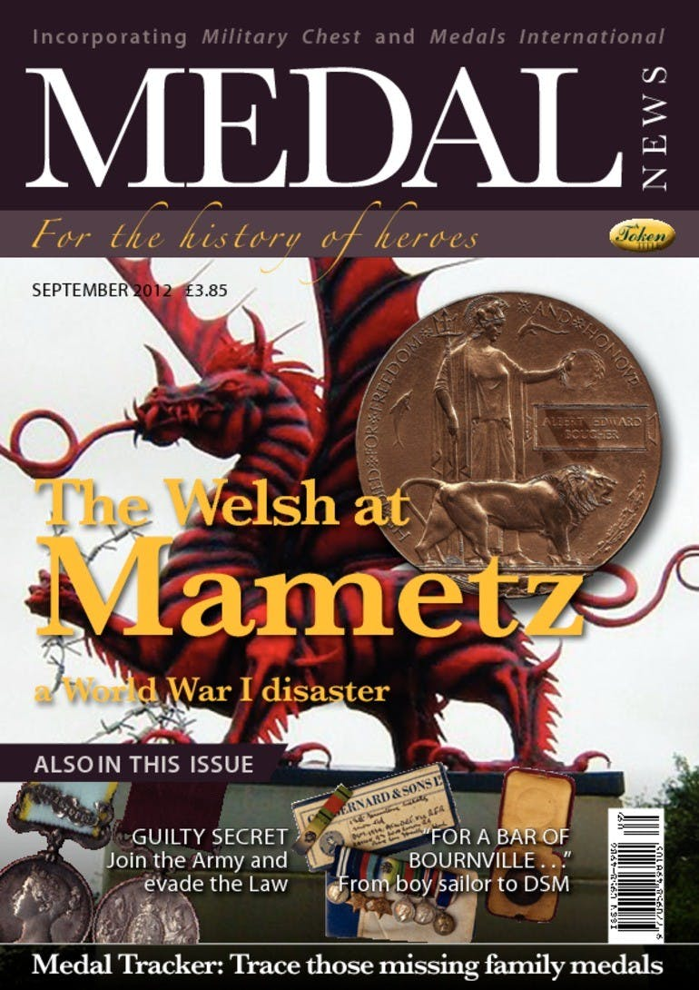 Front cover of 'The Welsh at Mametz', Medal News September 2012, Volume 50, Number 8 by Token Publishing