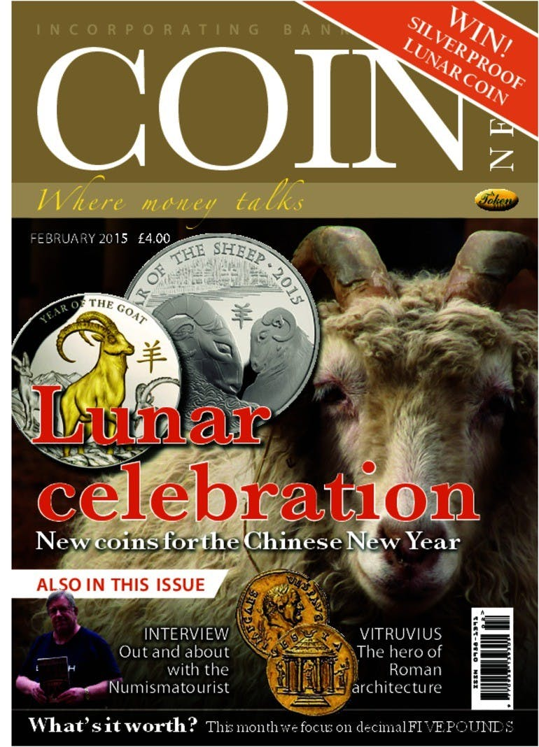 Front cover of 'Year of the Goat', Coin News February 2015, Volume 52, Number 2 by Token Publishing