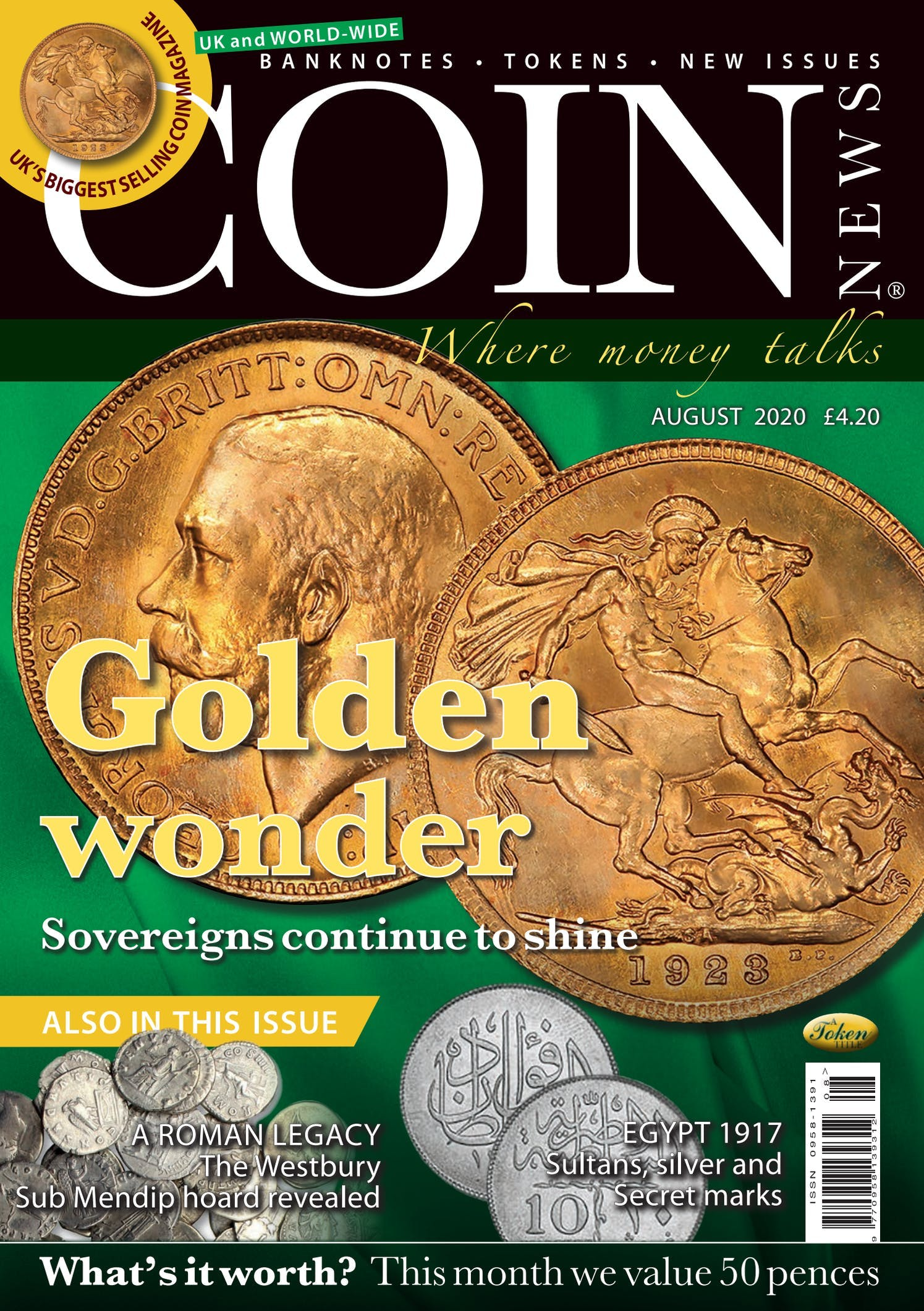 Front cover of 'Golden Wonder', Coin News August 2020, Volume 57, Number 8 by Token Publishing