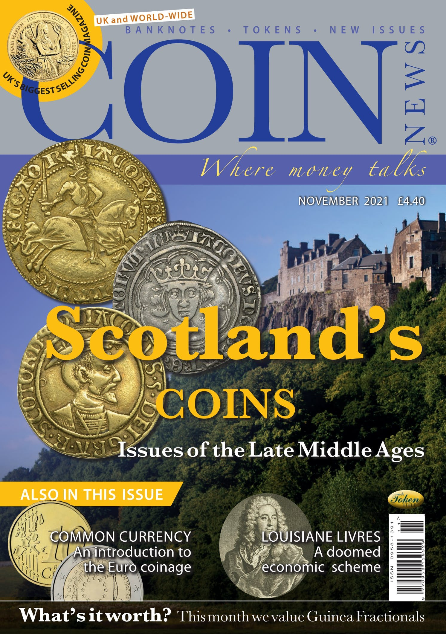 Front cover of 'Scotlands coins', Coin News November 2021, Volume 58, Number 11 by Token Publishing