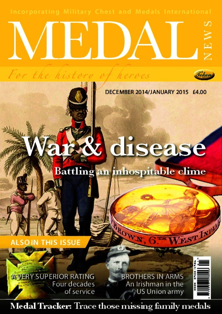 Front cover of 'War and disease', Medal News December 2014, Volume 53, Number 1 by Token Publishing