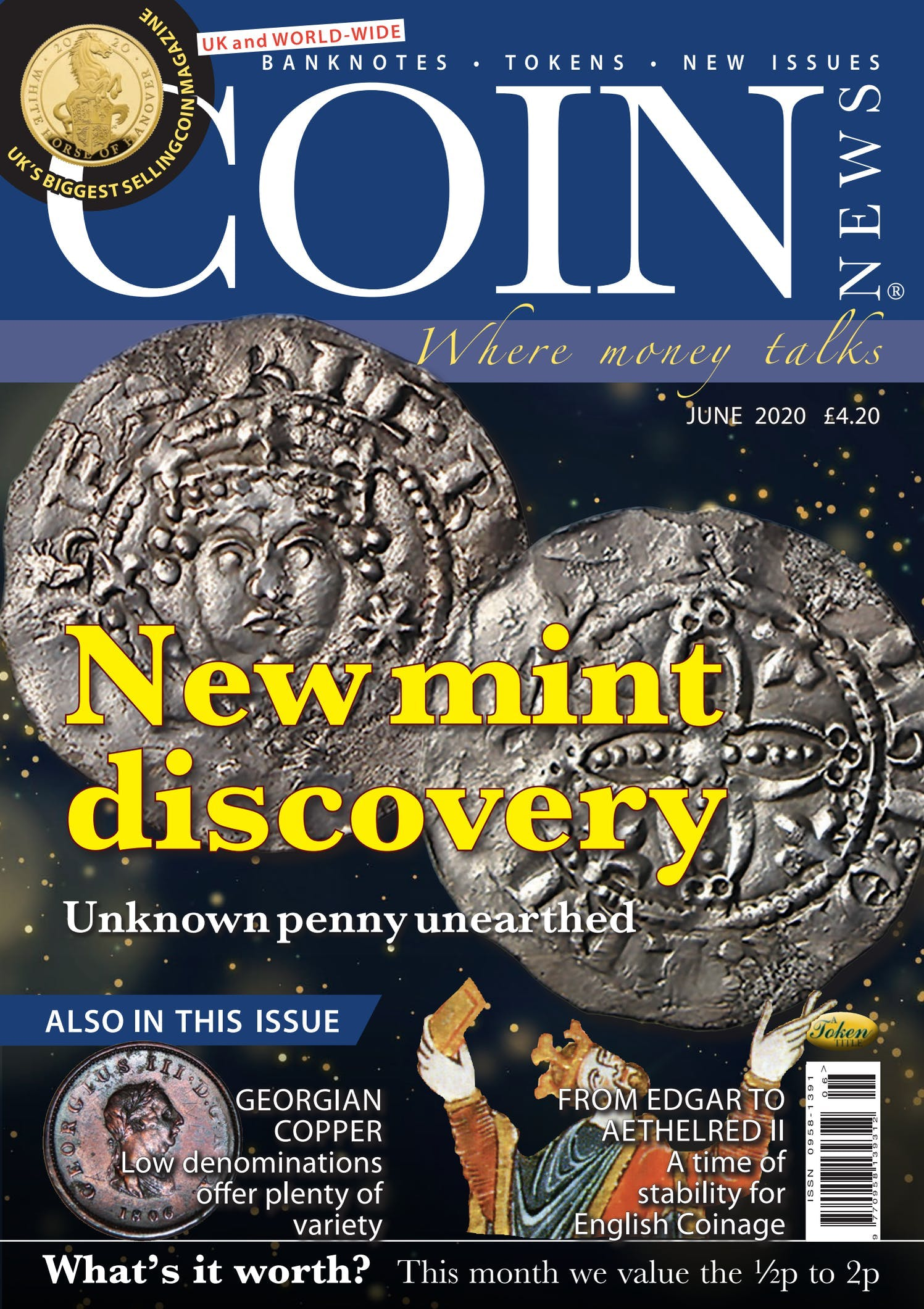Front cover of 'New mint discovery', Coin News June 2020, Volume 57, Number 6 by Token Publishing