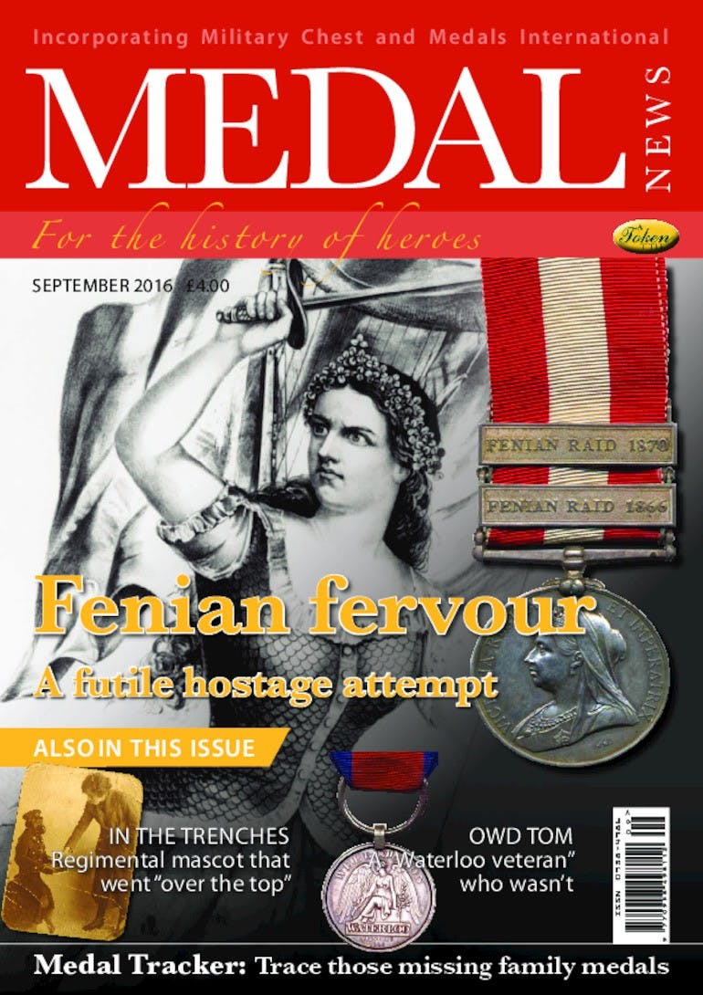 Front cover of 'Fenian fervour', Medal News September 2016, Volume 54, Number 8 by Token Publishing