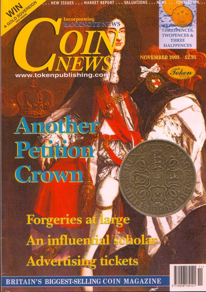 Front cover of 'Going around again', Coin News November 2003, Volume 40, Number 11 by Token Publishing